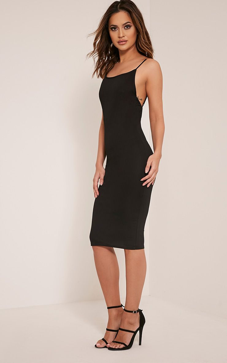Ada Black V Back Crepe Midi Dress 1