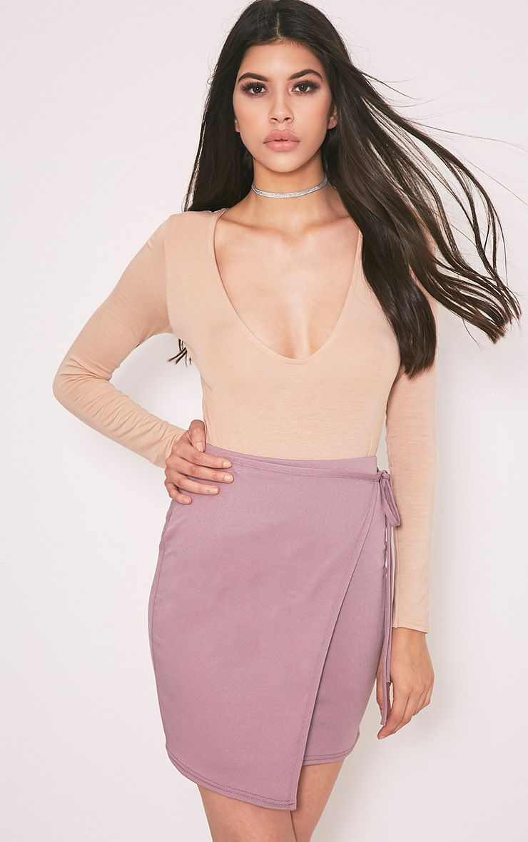 Hattie Mauve Wrap Tie Mini Skirt