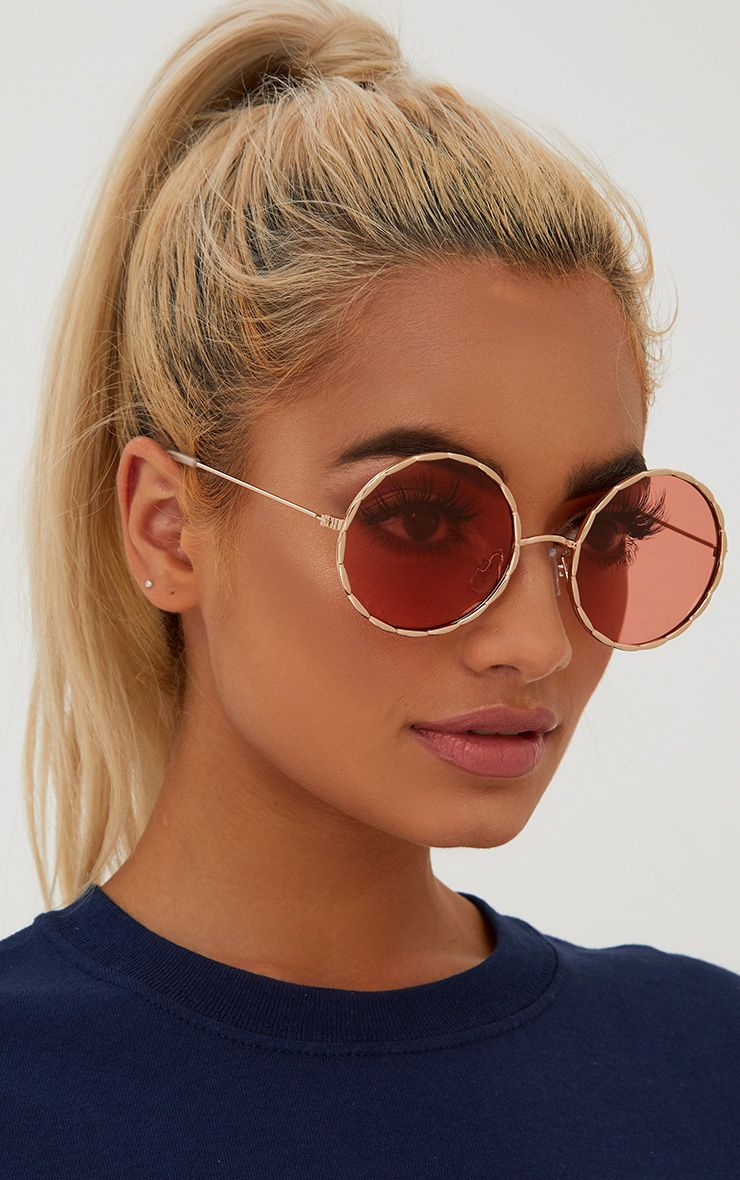 Pink Twisted Frame Round Sunglasses