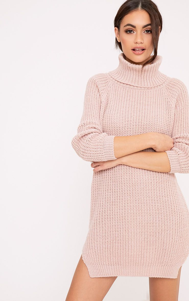 Aeeda Blush Chunky Roll Neck Knitted Tunic Dress Pink