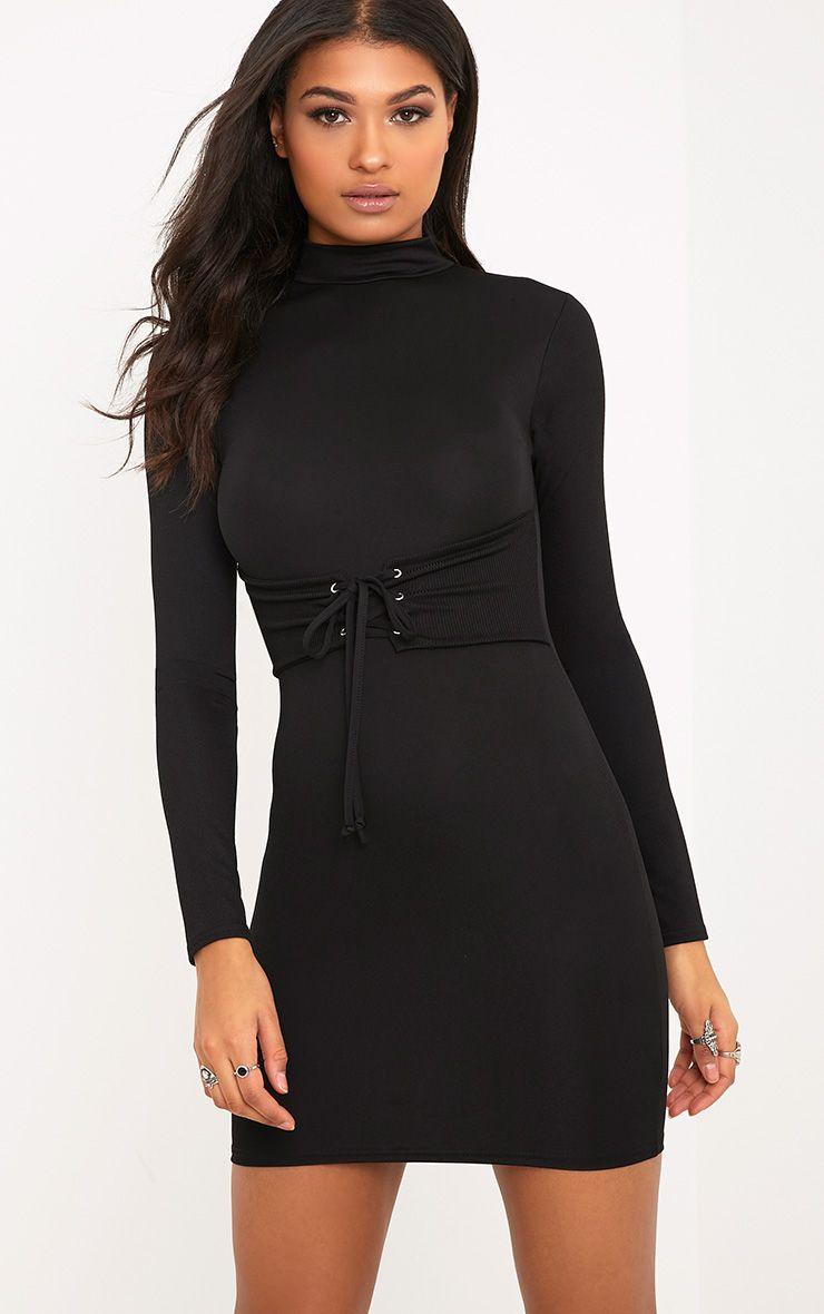Martha Black Corset Detail Bodycon Dress
