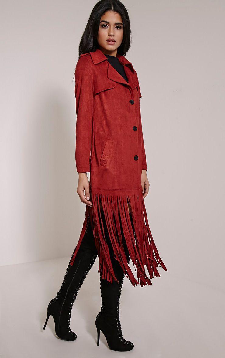 Jessica Rust Fringe Trim Trench Coat 1