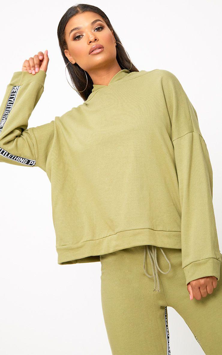 Khaki PrettyLittleThing Branded Oversized Hoodie
