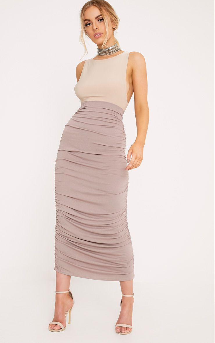 Bellissa Taupe Ruched Midaxi Skirt