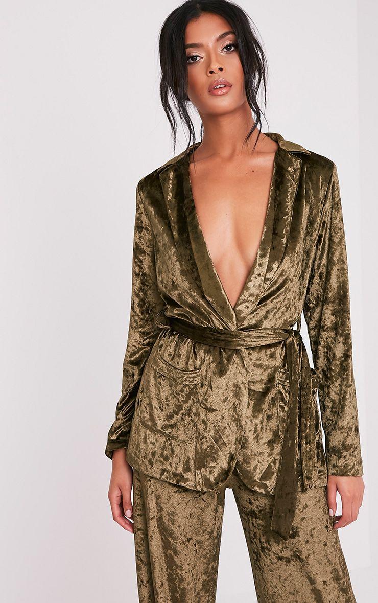 Marisha Khaki Crushed Velvet Blazer