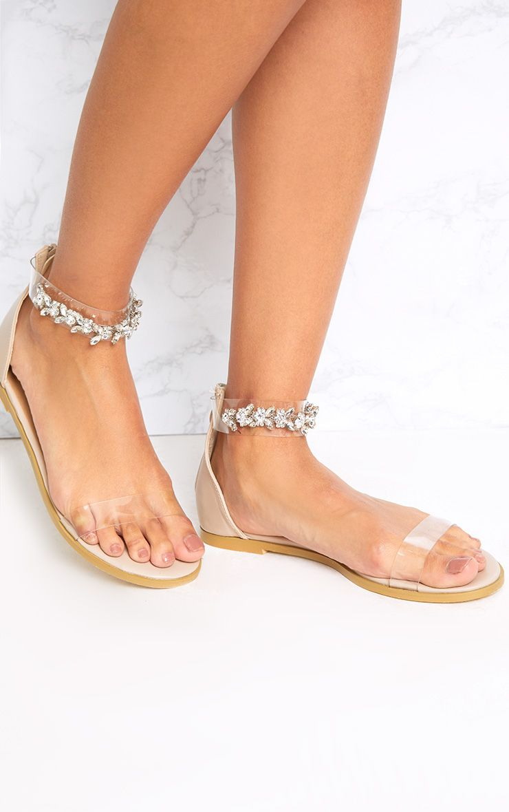 Nakita Nude Jewelled Ankle Strap Sandals