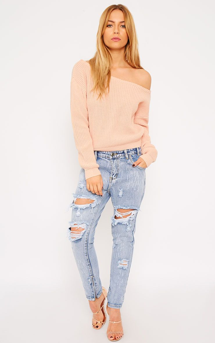 Rosalina Nude Off The Shoulder Crop Jumper 1