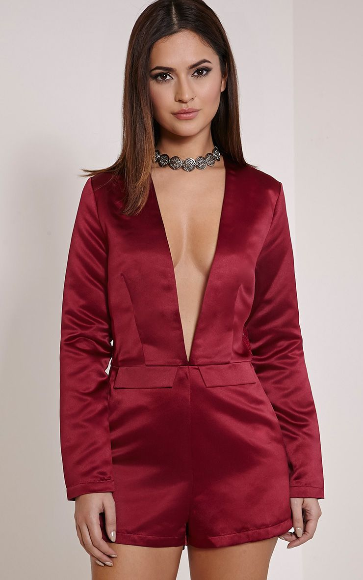 Lysa Burgundy Satin Lace Back Playsuit 1