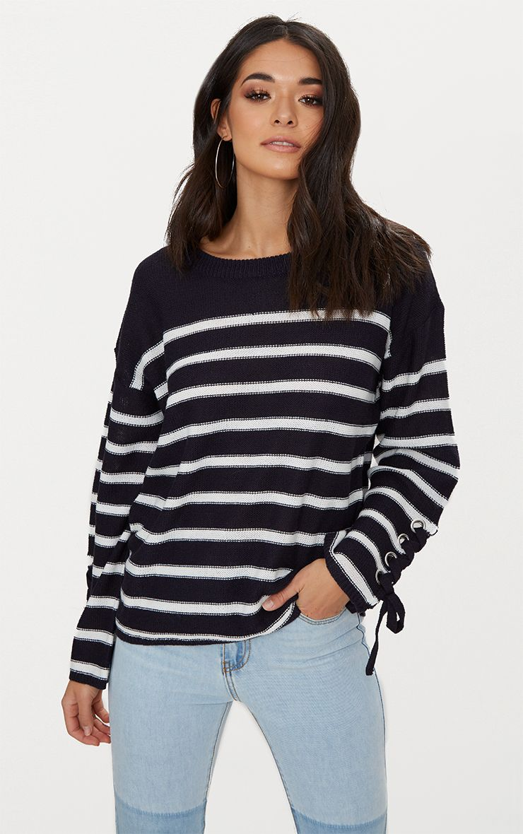 Navy Lace Up Sleeve Jumper