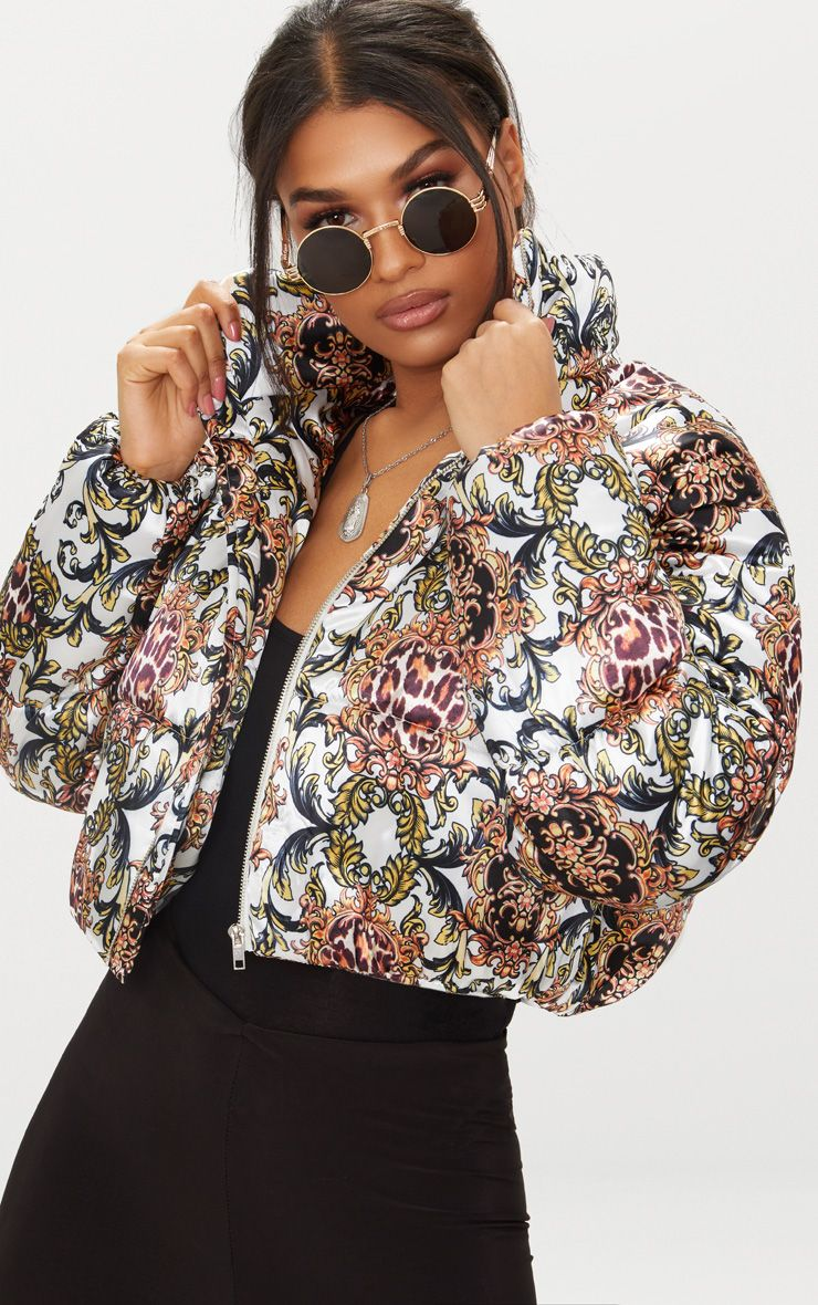 Animal Scarf Printed Satin Puffer Jacket