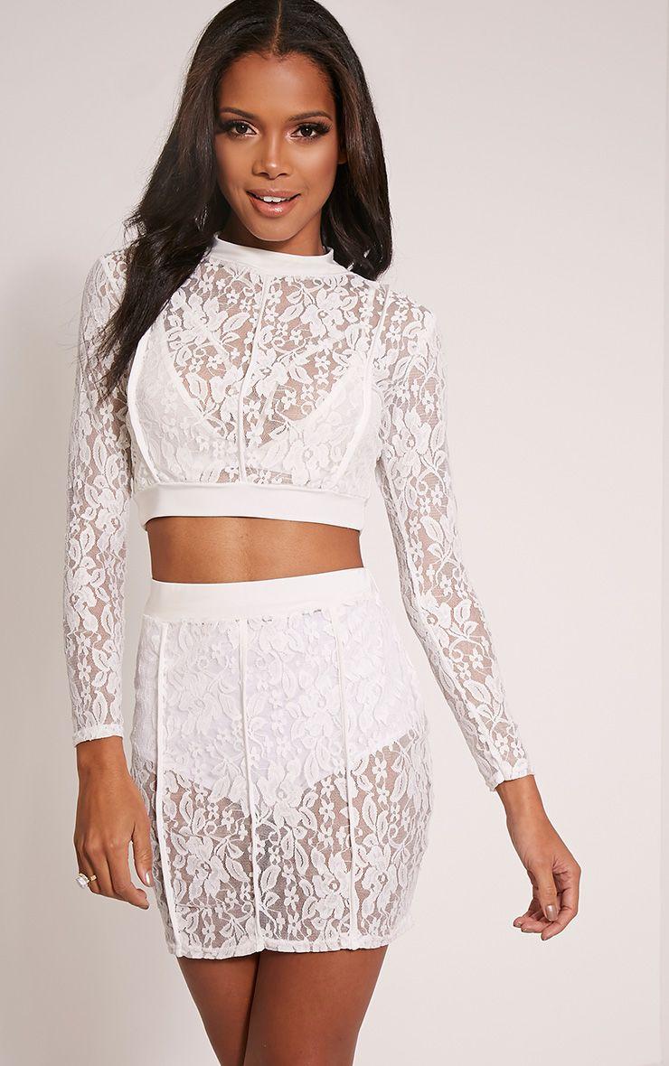 Oliviana Cream Sheer Lace Mini Skirt 1