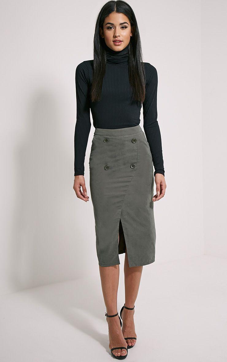 Mardy Khaki Wrap Midi Skirt 1