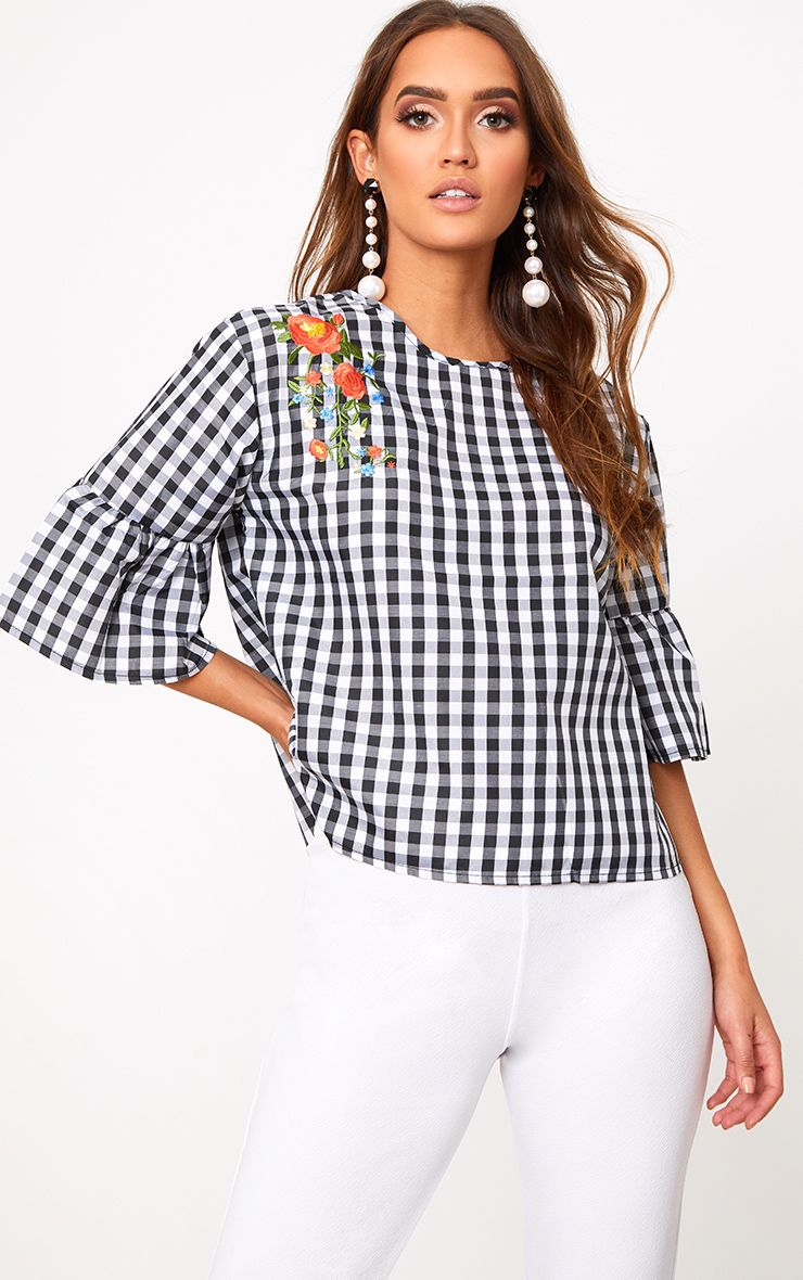 Black Embroidered Gingham Top