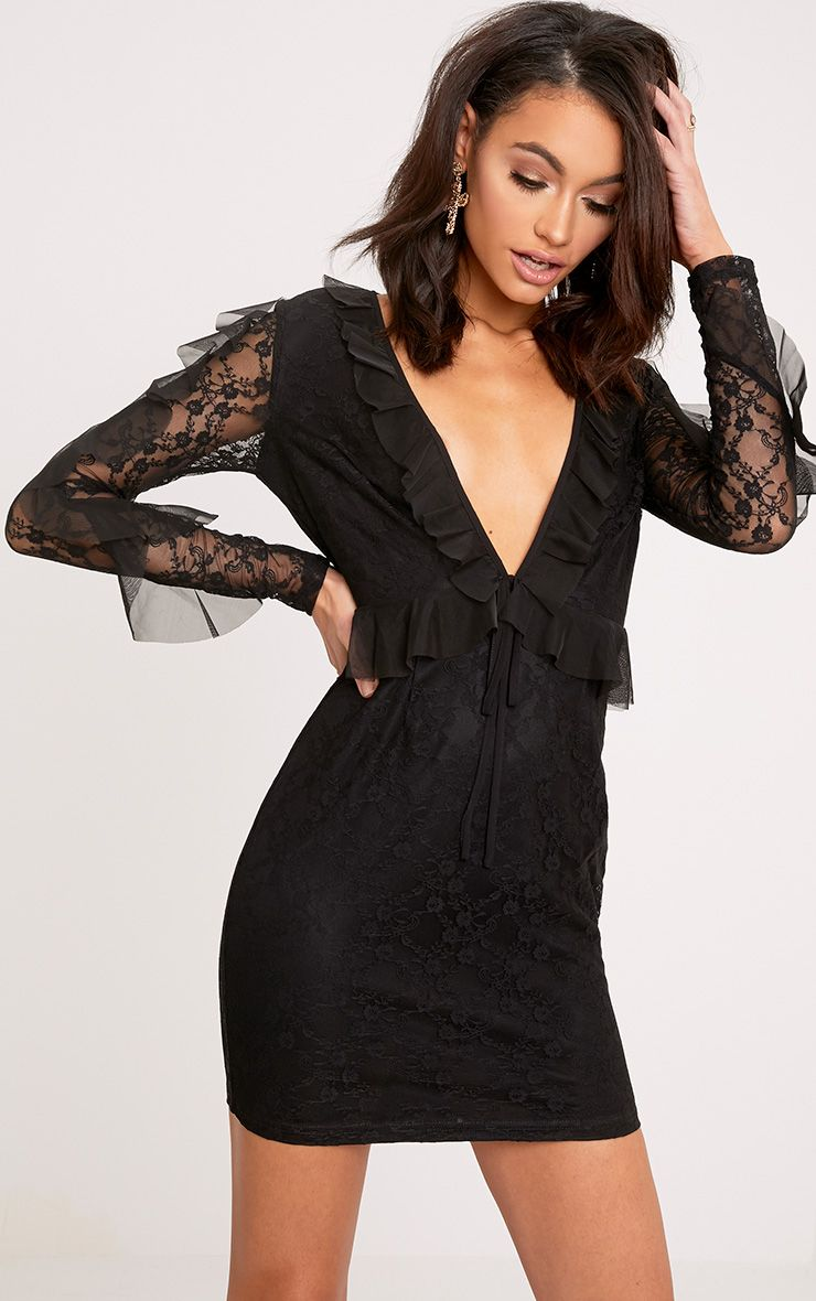 Adria Black Lace Frill Sleeve Bodycon Dress