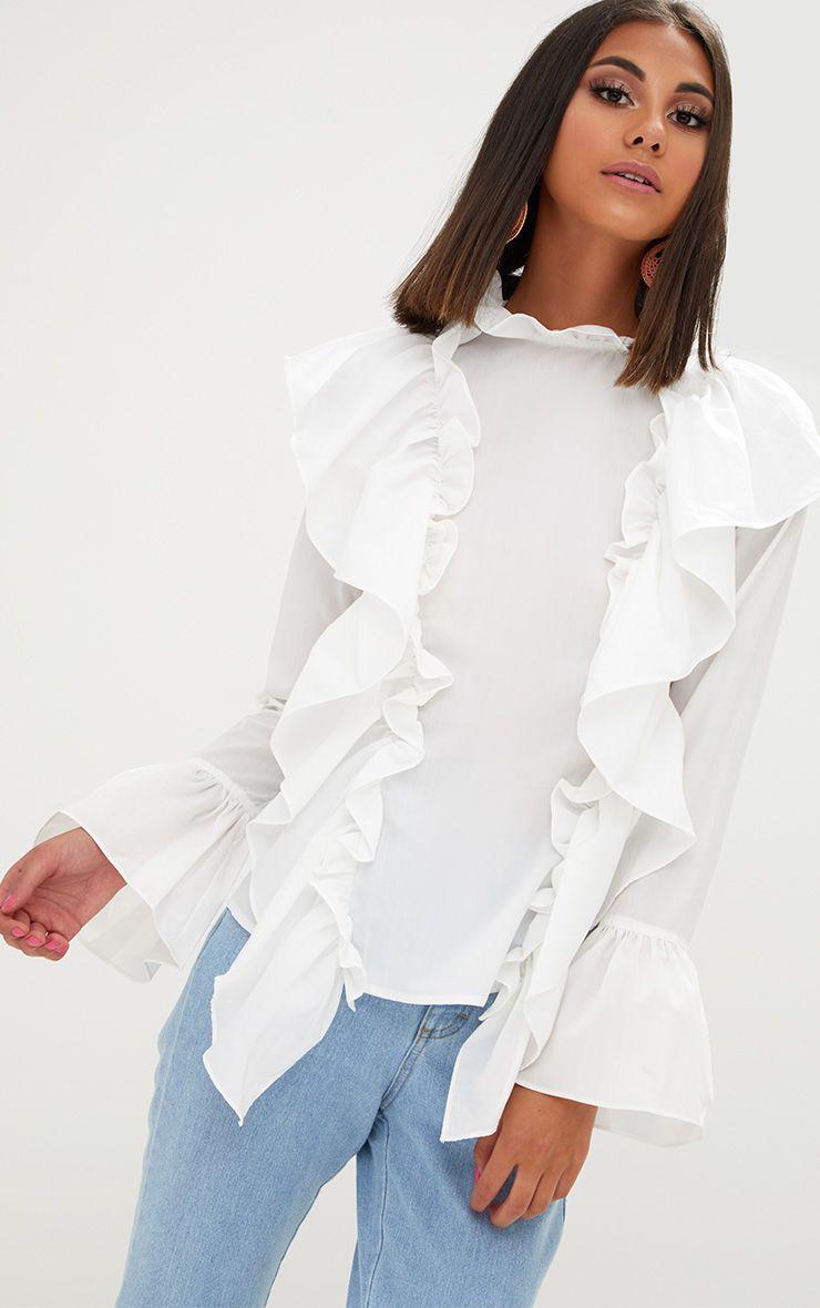White Ruffle Frill High Neck Shirt