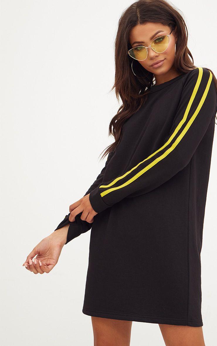 Black Contrast Stripe Sweater Dress