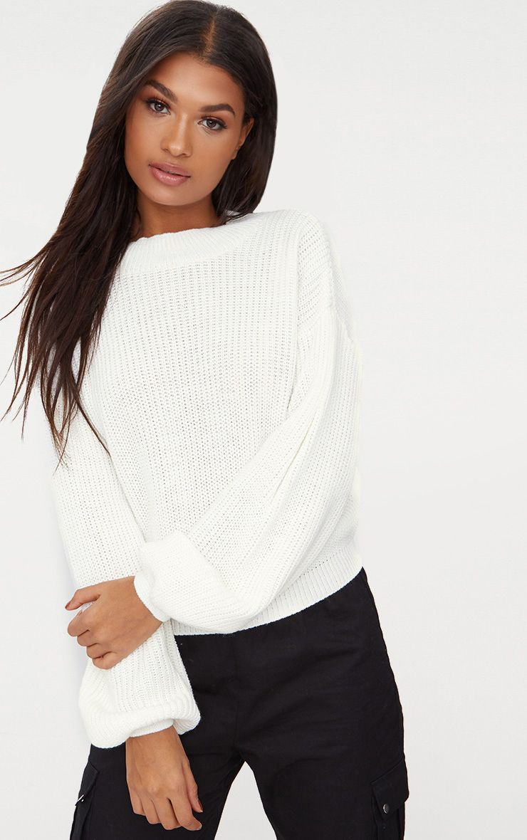 Cream Balloon Sleeve Jumper