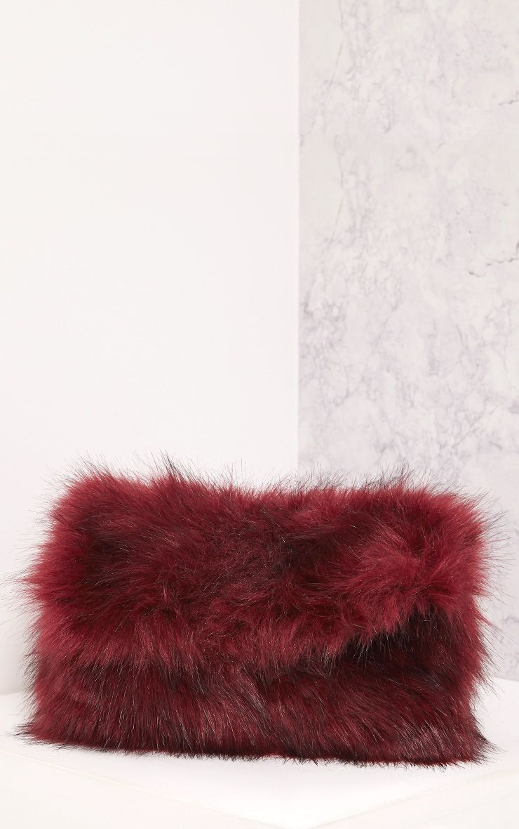 Kylah Burgundy Faux Fur Clutch Bag
