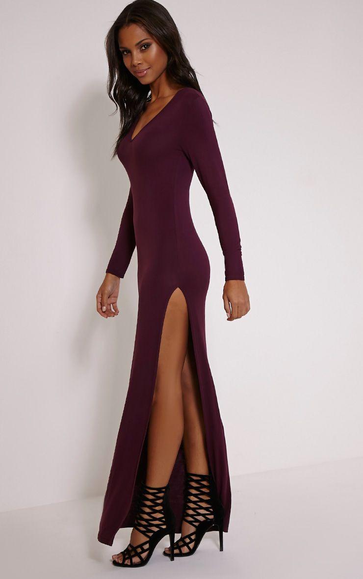 Basic Berry V Neck Maxi Dress 1