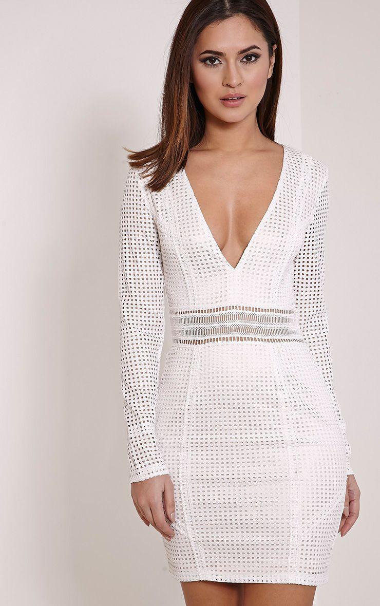 Jamey Cream Square Lace Plunge Mini Dress 1