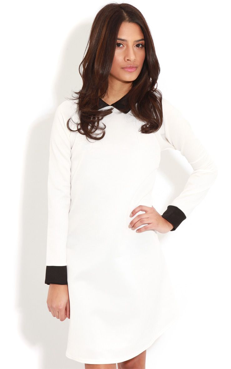 Product photo of Evelyn white long sleeved collar dress white