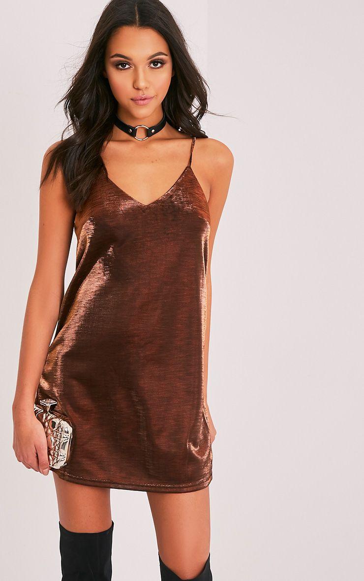 Carisa Bronze Metallic Swing Dress