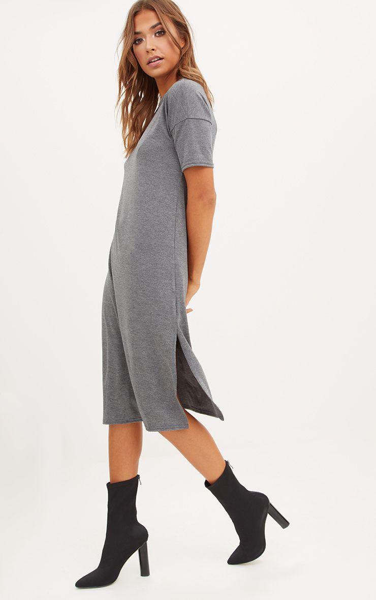 Charcoal Jersey Short Sleeve Midi T Shirt Dress