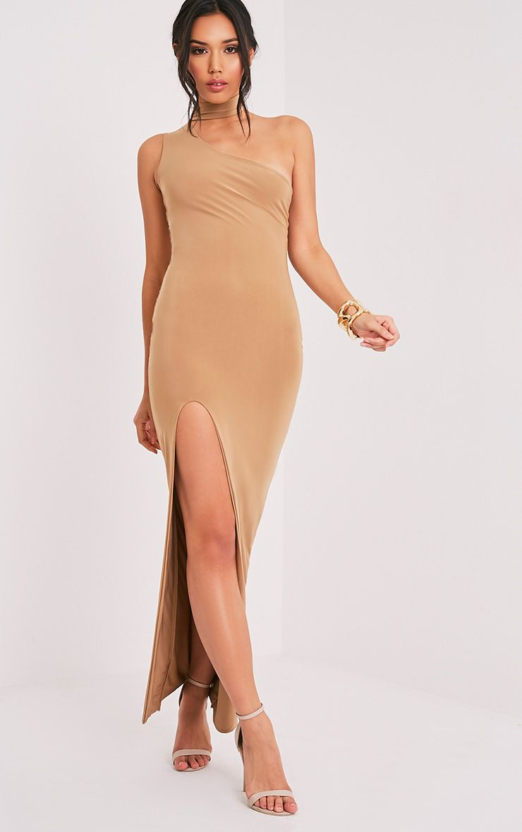 Jiya Camel Slinky Choker Neck Maxi Dress