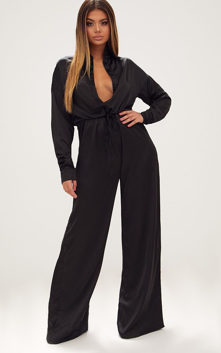 Black Extreme Oversized Satin Wide Leg Jumpsuit