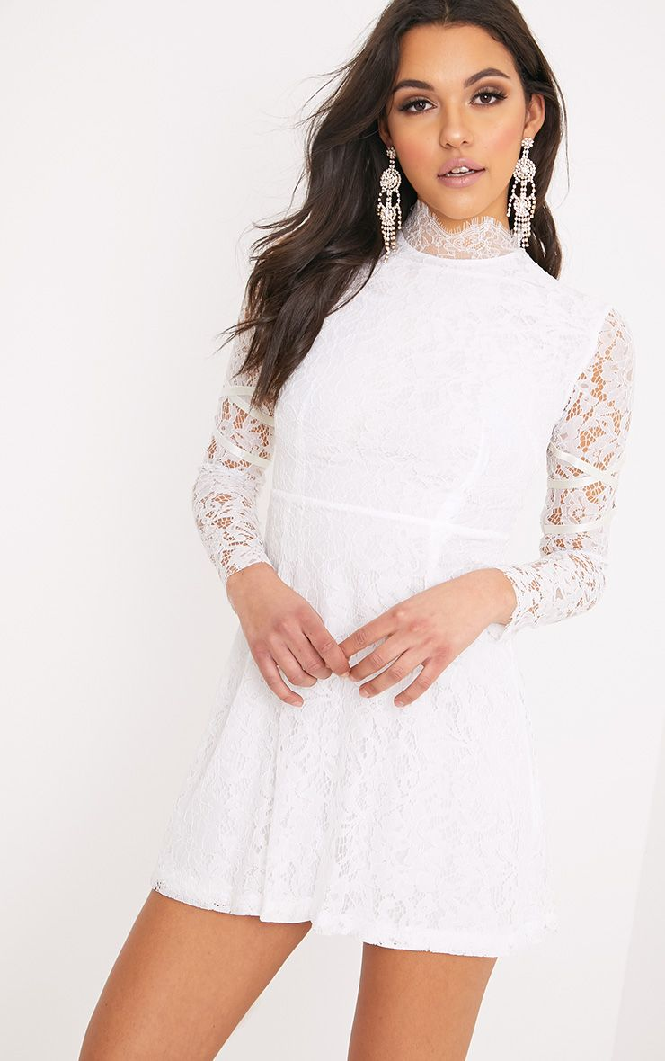 Jamie White Lace High Neck Skater Dress