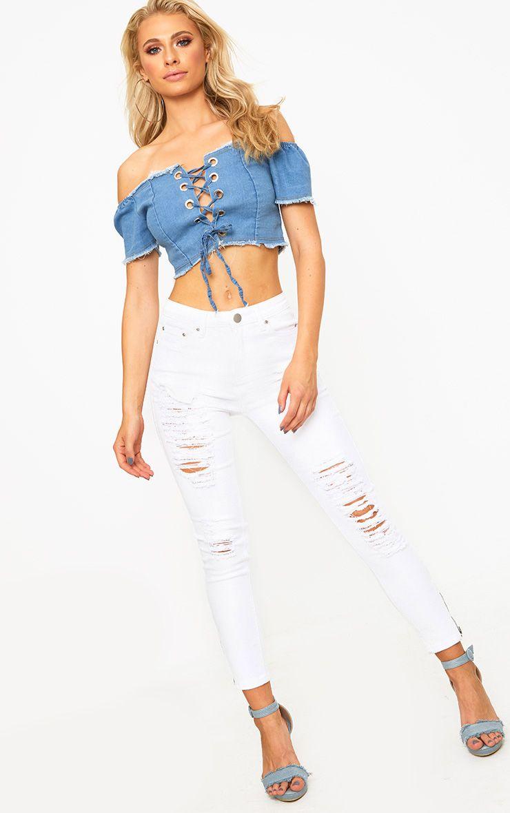 White Extreme Bum Rip Skinny Jean
