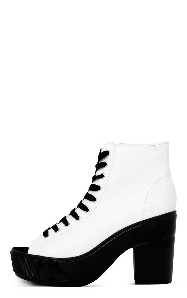 Demi Monochrome Lace Up Peep Toe Boot  1