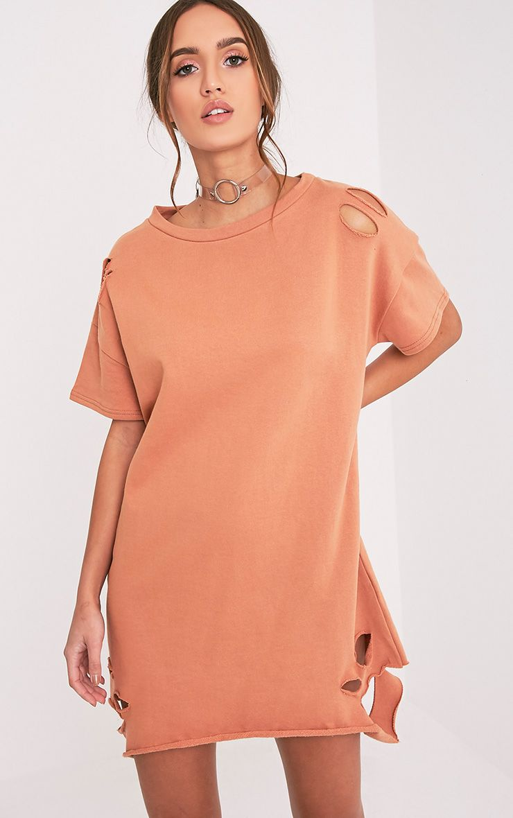 Orla Deep Peach Distressed Short Sleeve Sweater Dress