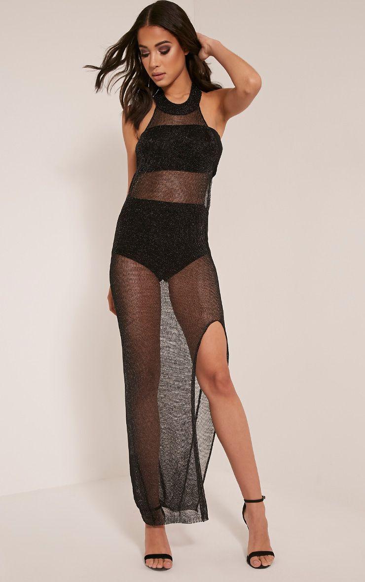 Dido Sheer Black Halterneck Metallic Knitted Maxi Dress 1