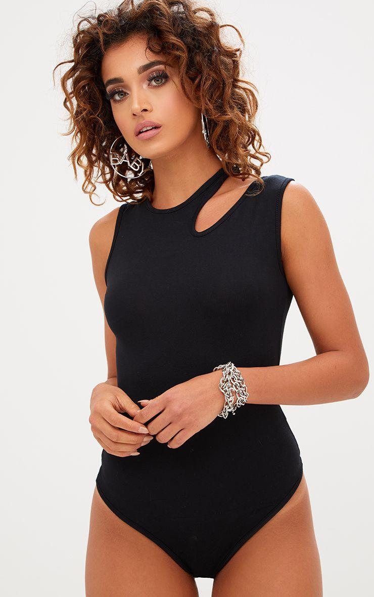 Basic Black Jersey Cut Out Shoulder Thong Bodysuit