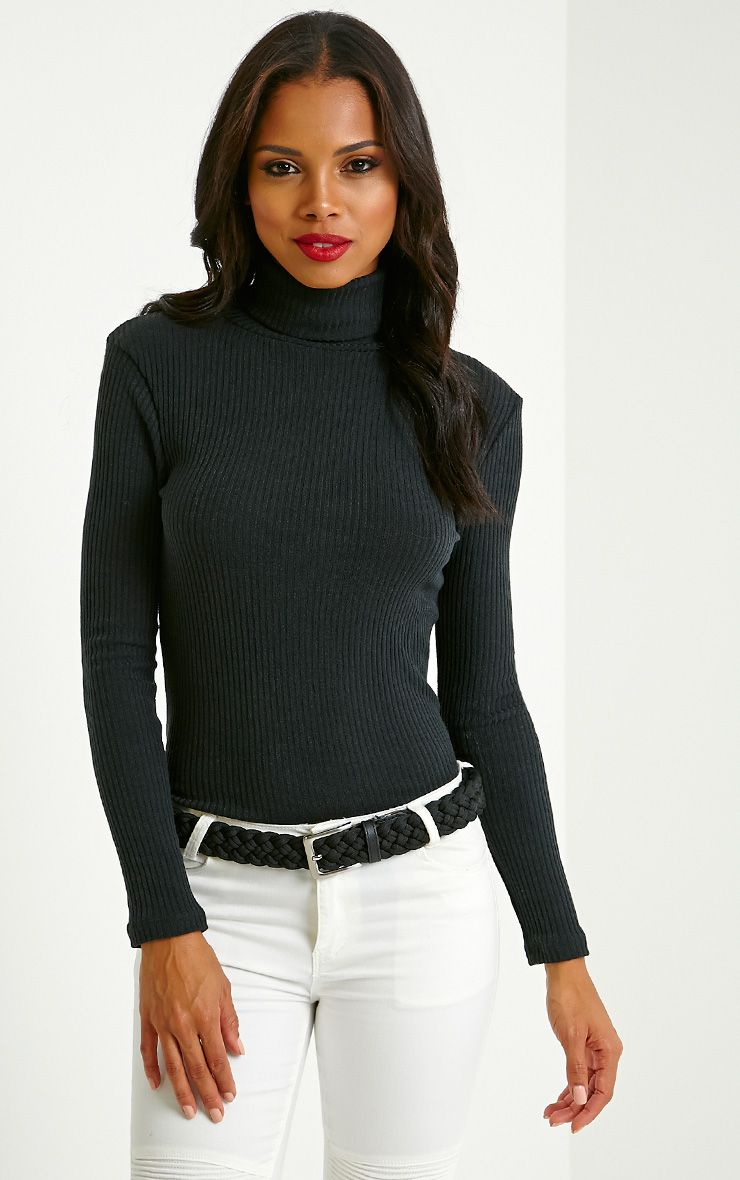 Rica Black Ribbed Roll Neck Top 1