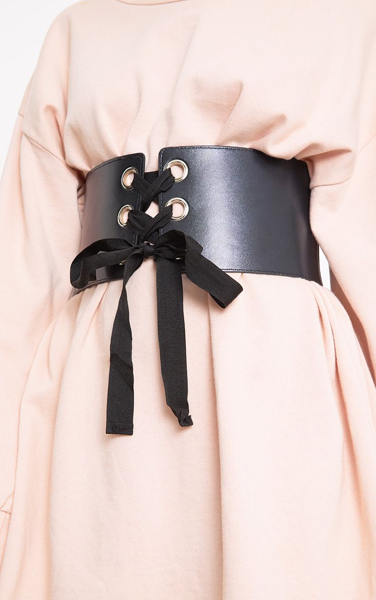 Emily Black Lace Up Corset Belt