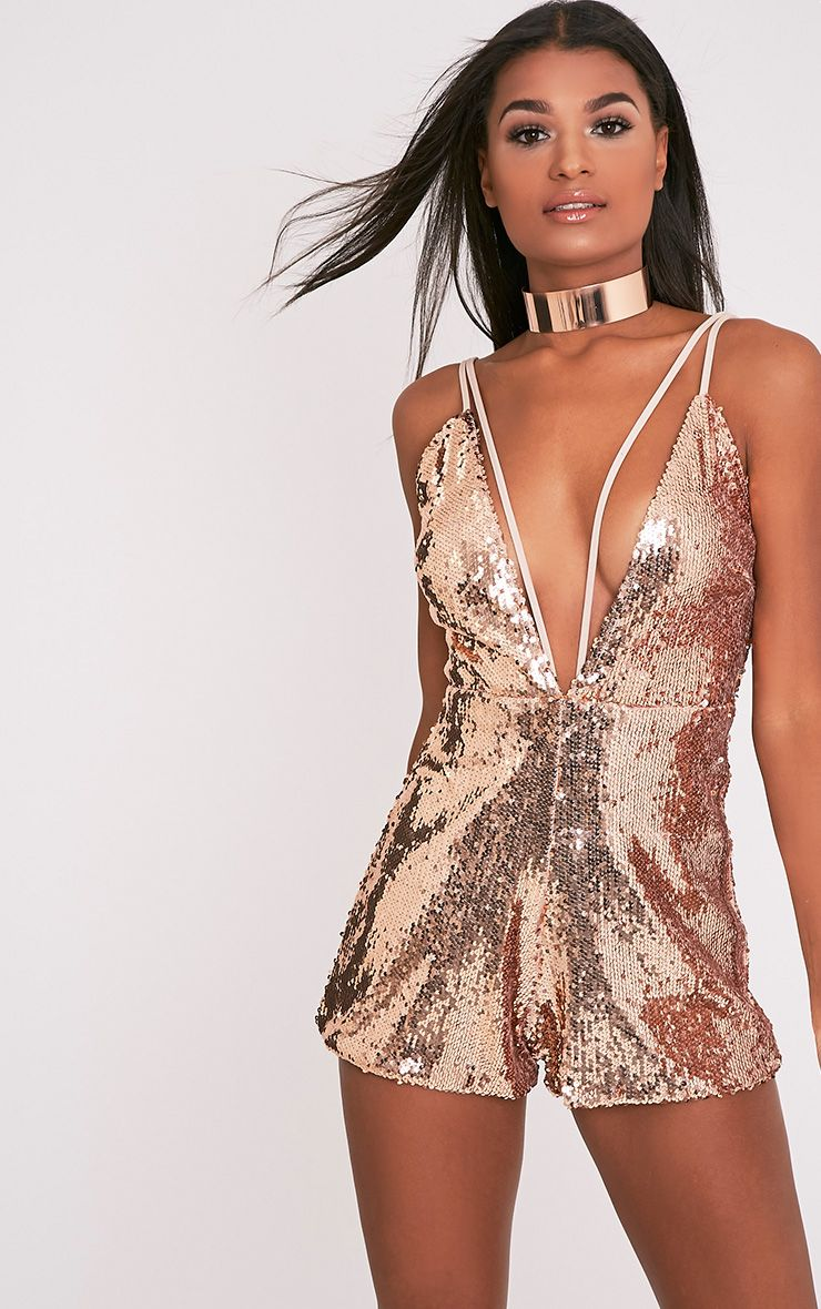 Tarlia Gold Sequin Plunge Playsuit