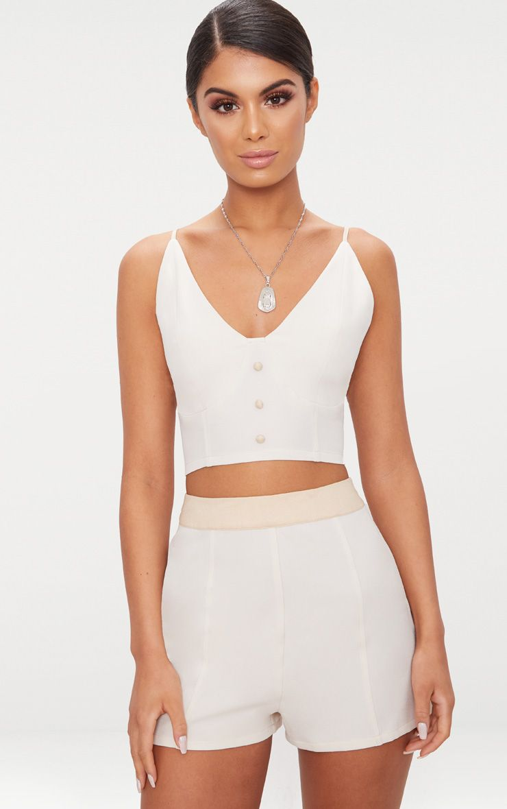 Cream Contrast Button Detail Bralet