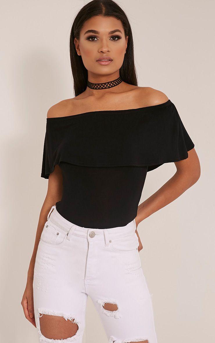 Mereena Black Jersey Frill Bardot Top