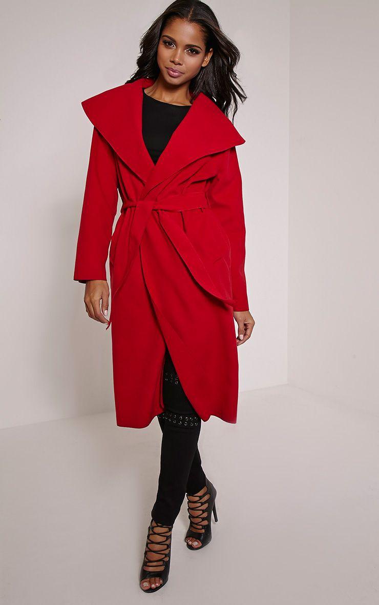Veronica Red Waterfall Coat