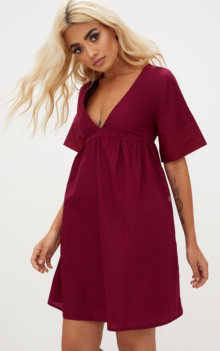 Burgundy Poplin Smock Dress