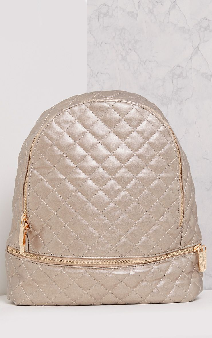 Lilla Silver Quilted Zip Backpack