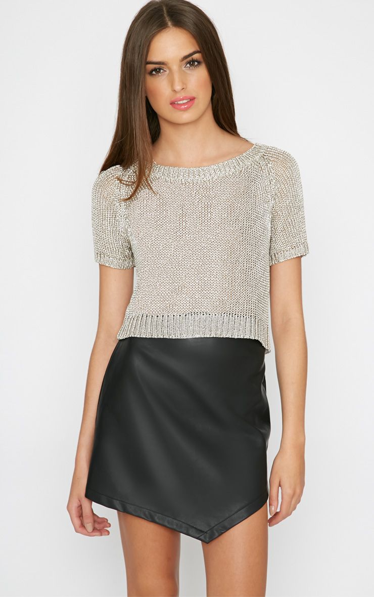 Willa Champagne Knitted Cropped Jumper 1