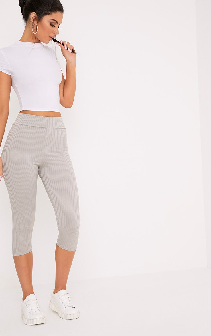 Harlie Grey Cropped Ribbed High Waisted Leggings