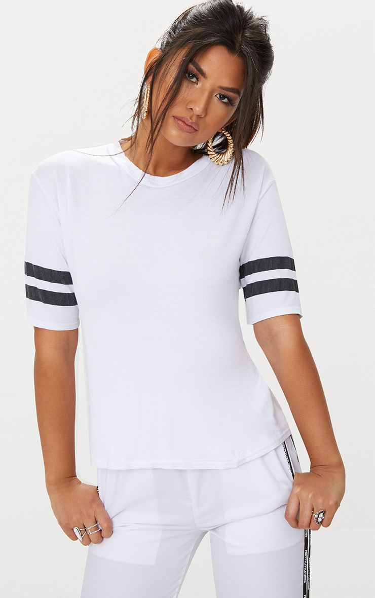 Basic White Sport Stripe Sleeve T Shirt