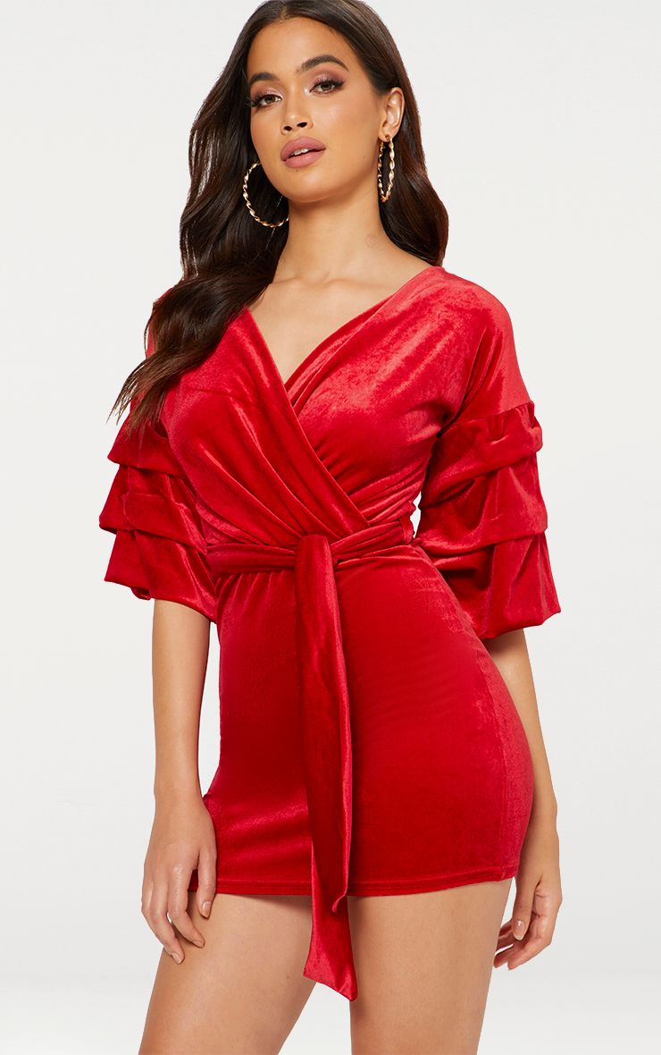 Red Tuck Sleeve Wrap front Tie Waist Bodycon Dress