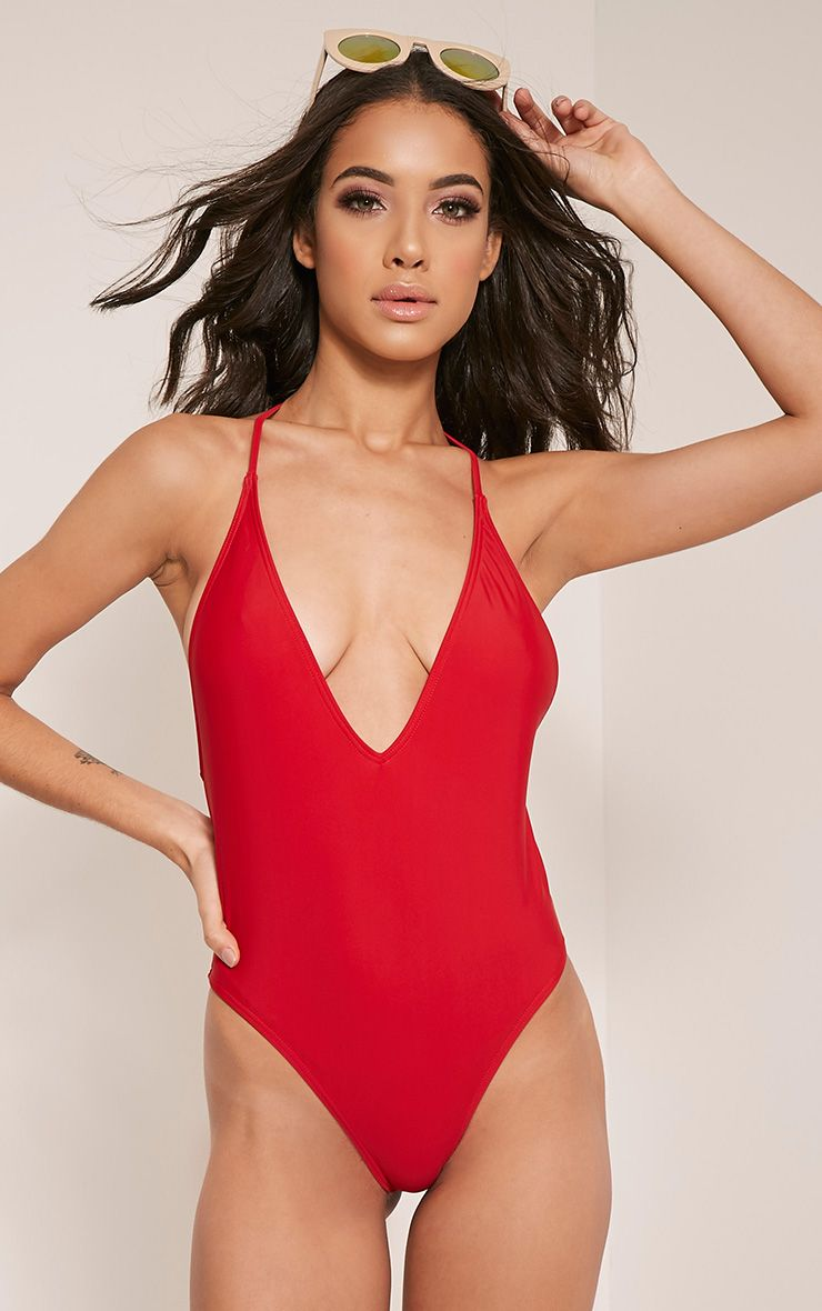 Cindi Red T-Bar Plunge Swimsuit