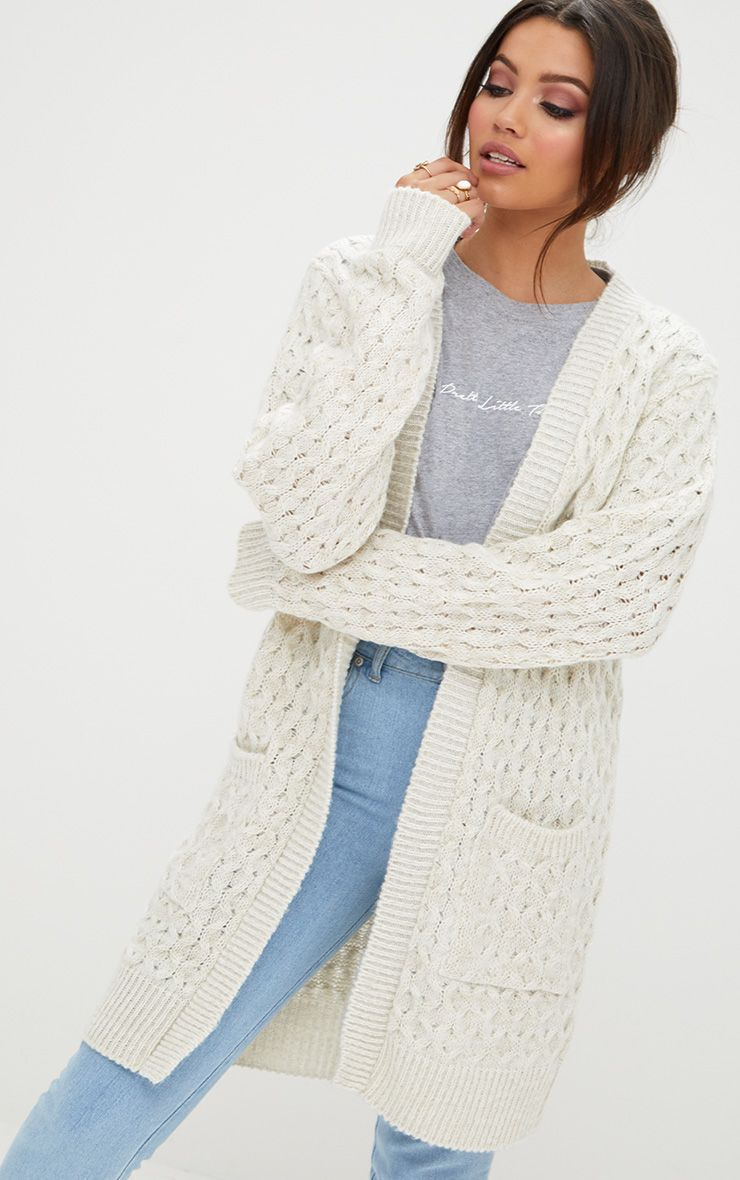 Stone Chunky Knit Edge to Edge Cardigan
