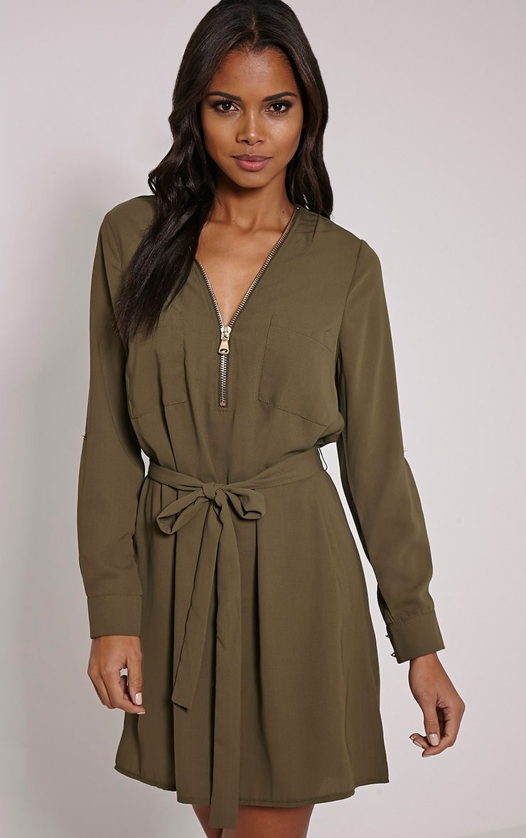 Lennie Khaki Zip Front Shirt Dress 1